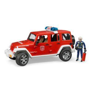 Bruder 02528 Jeep Wrangler Unlimited Rubicon Feuerwehr Einsatz-Fahrzeug + Figur