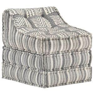 Möbel® Modularer Pouf Hochwertiger & komfortabel Bodenkissen,Sitzpouf Lounge Sofa,Sofabett, Grau Gestreift Stoff🐳2087