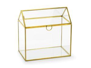 Kartenbox Hochzeit 21cm Glas, transparent / gold