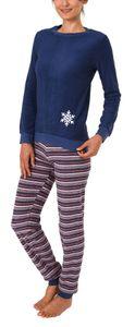 Wunderschöner Damen Frottee Pyjama in tollem Winterdesign, Schlafanzug lang - 59895, Farbe:navy, Größe:40/42
