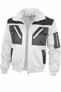 Qualitex Pilotenjacke zweifarbig Unisex 10004 weiß/grau L Arbeitsjacke, Bundjacke Handwerker, Heimwerker, Outdoor, Strassenarbeiter