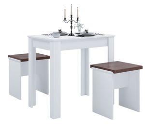 """VCM Tischgruppe Sitzgruppe Essgruppe Holztisch Esstisch Tisch """"Esal L"""" Weiß"""