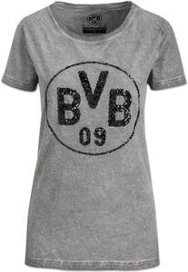 BVB Merchandising Borussia Dortmund mit Pailetten T-Shirt Grau - Damen, Größe:M