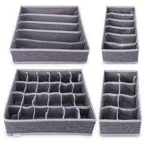 Navaris Aufbewahrungsboxen Organizer Ordnungssystem für Wäsche - 4 Boxen für Kleiderschrank oder Schubladen - Stoffboxen in verschiedenen Größen