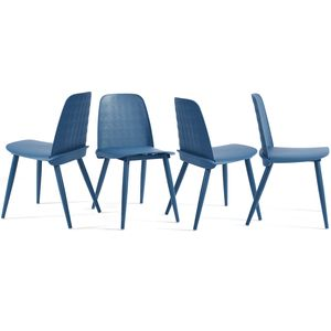 4er-Set Wunderschönes Paket mit vier neuen, begehrten Essstühlen,Esszimmerstühle, Küchenstuhl, Bürostuhl, Design Stuhl, Blau