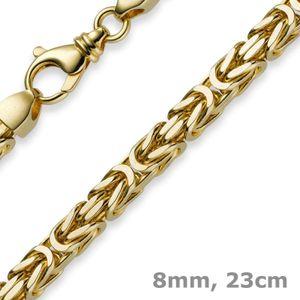 8mm Armband Armkette Königskette aus 750 Gold Gelbgold 23cm Herren