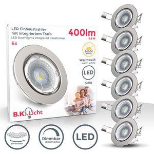6er Set LED Einbaustrahler Einbauleuchte Dimmbar Schwenkbar Inkl. 5W Leuchtmittel GU10 380 Lumen IP23 Warmweiss (Matt Nickel) B.K.Licht