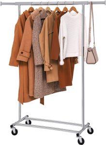 SONGMICS Schwerlast-Kleiderständer, auf Rollen, bis 90 kg belastbar, mit ausziehbarer Kleiderstange, zusammenklappbares Unterteil, silbern HSR13S