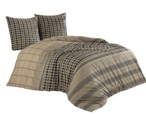Bettwäsche 200x220 + 80x80 cm Baumwolle Renforce Beige Schwarz Streifen mit Reißverschluss, 3-teilig