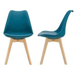2x Design Stühle Esszimmerstuhl Türkis PolyurethanKunstleder Stuhl Holzgestell [en.casa]