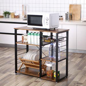 VASAGLE Küchenregal mit Metallkorb Bäckerregal mit 6 Haken und Regale Standregal Mikrowellenregal Gewürzregal Vintage dunkelbraun KKS90X