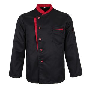 Langarm Kochjacke Bäckerjacke mit Druckknöpfe Küche Arbeitsjacke Gastronomie Arbeitskleidung Farbe Schwarz m