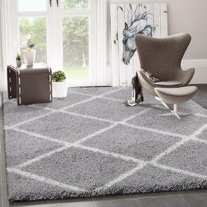 Hochflor Shaggy Teppich Rauten Design Grau Creme Modern, Maße:140x200 cm