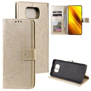 Hülle für Xiaomi Poco X3 NFC/X3 Pro Handyhülle Flip Case Cover Etui Mandala Gold
