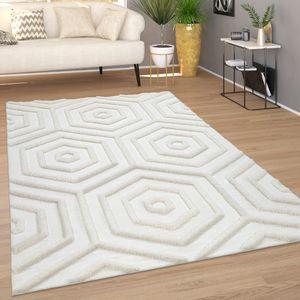 Teppich Wohnzimmer Kurzflor Modernes Boho Muster Geometrisch 3D Effekt Creme, Grösse:160x230 cm