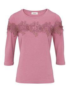 Heine Damen Shirt mit Spitze, rosé, Größe:44