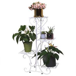WISFOR Weiße Blumentreppe Metall 4 Ebenen Blumenregal Blumenständer Pflanzenregal für Balkon Garten, 81×57×26cm