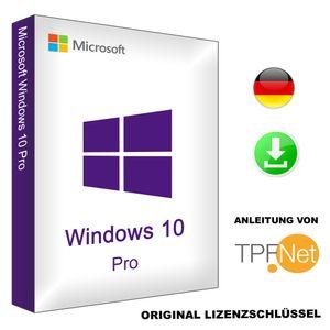 Original Windows 10 Pro 64 Bit / 32 Bit Deutsch Vollversion | Original Key inkl. Anleitung von TPFNet® | Versand Mo-So per E-Mail in max. 60Min