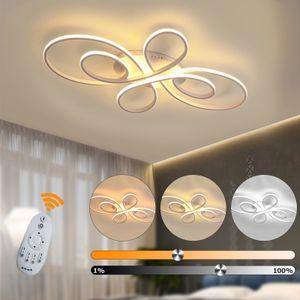LED Deckenlampe dimmbar Deckenleuchte Fernbedienung Aluoptik 74W Wohnzimmer Farbe: weiß