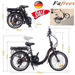 Fafrees 20F054 Faltbares Ebike 250W 36V 10AH Elektrofahrrad Citybike Mountainbike Faltbar E-Bike 25 km / h Trekkingrad bis 120 kg - Schwarz