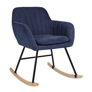 Verdickter Kissenpolster-Schaukelstuhl mit Metallrahmen, dunkelblau