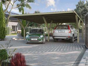 Weka Y-Flachdach Carport / Doppelcarport 612 kdi PVC Dach 594x606cm