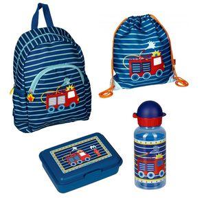 Kindergarten Rucksack Set 4tlg mit Turnbeutel, Dose und Trinkflasche Feuerwehr