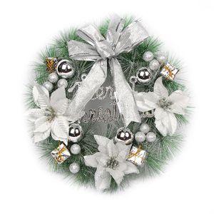 30cm Weihnachts Türkranz Rattan Weihnachten Girlande Kranz Deko Weihnachtskranz, Silber