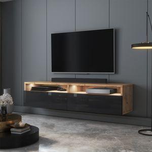 Selsey TV-Schrank  REDNAW - modernes TV-Board in Wotan Eiche Matt / Schwarz Hochglanz mit LED, stehend / hängend, 140 cm breit