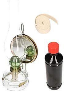 KOTARBAU Öllampe Mit Spiegel & Dochthalter SET Zusätlichem Doch & Petroleum Petroleumlampe 32,5 cm Höhe Sturmlaterne Glaskolben Tischlampe Gartenlampe