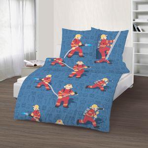 Kinder Bettwäsche 135x200 cm Feuerwehrmann rot blau Fein Biber Baumwolle
