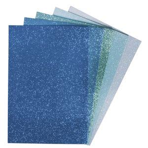 Moosgummi mit Glitter blau-grün sortiert, 5 Stück
