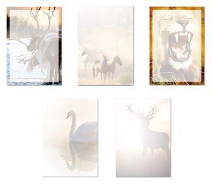 5 x 10 Blatt Motivpapier Briefpapier Mix DIN A4 Rentiere Pferde Löwe Schwan Hisch (Tiere-5240)