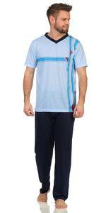 Herren Sommer Pyjama Lange Schlafhose V- T-shirt, Hellblau M