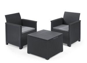 Keter Balkon-Set Emma 5-teilig - graphit , 2 Sessel + 1 Tisch mit Truhenfunktion + 2 Sitzauflagen