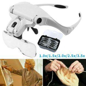 Lupenbrille mit Licht Vergrößerungsbrille Kopflupe 1X 1.5X 2X 2.5X 3X Vergrößern