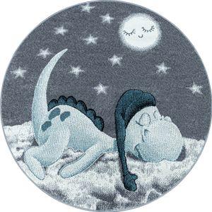 Kurzflor Kinderteppich Dino Wolke Kinderzimmer Babyzimmer Teppich Soft Grau Blau, Farbe:Blau, Grösse:160 cm Rund
