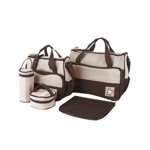 5er Set Wickeltasche Mamatasche Babytasche Mama Rucksack Pflegetasche Mamatasche Reisetasche Backpack,Braun-OV
