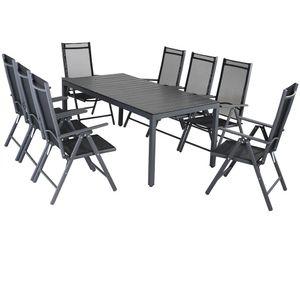 Casaria Alu Sitzgruppe Bern 8 Klappstühle + WPC Gartentisch 180x90x75 cm Sitzgarnitur Gartenmöbel Set Aluminium - Grau