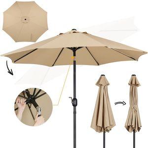 Yaheetech Sonnenschirm ø 261 cm Gartenschirm Knickbarer Marktschirm Kurbelschirm mit Kurbelvorrichtung Sonnenschutz