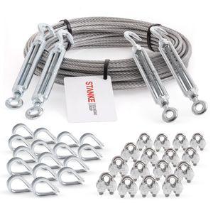 Seilwerk STANKE Rankhilfe Drahtseil verzinkt 20m Stahlseil 3mm 6x7, 4x Spannschloss M5 Haken+Öse, 16x Kausche, 16x Bügelformklemme - SET 6