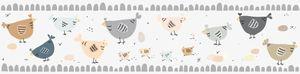 Lovely Kids selbstklebende Kinderzimmer Bordüre Chicken Party grau weiß creme braun 5,00 m x 0,155 m