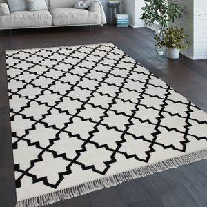 Teppich Wohnzimmer Marokkanisches Muster Fransen Handgewebt Baumwolle Weiß Schwarz, Grösse:160x230 cm