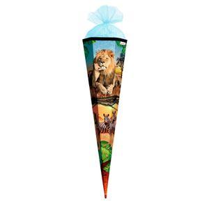 Schultüte Löwe 85 cm groß - 6-eckig Rot(h)-Spitze - Zuckertüte