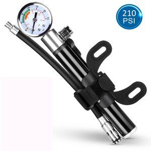 Aluminium Fahrradpumpe tragbare mini Luftpumpe Handpumpe hoher Druck bis 15 Bar mit Manometer