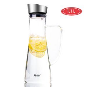 Design Glaskaraffe 1,1L Krug Karaffe Wasserkaraffe Edelstahl Deckel Glaskanne 1x Glaskaraffe 1,1L