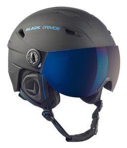 BLACK CREVICE Ski- & Snowboardhelm mit Visier - SILVRETTA | Farbe: Schwarz/Blau | Größe: M (57-58 cm)