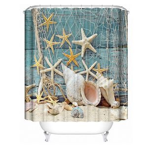 MECO Duschvorhang Badvorhang Wannenvorhang Vorhang Anti-Schimmel Größe: 180x180cm 3D Digitaldruck Seestern Badezimmer
