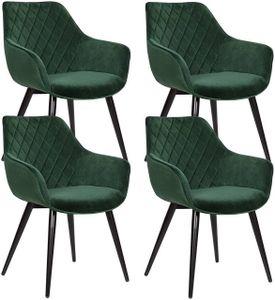 WOLTU 4er-Set Esszimmerstühle Küchenstühle Wohnzimmerstuhl Polsterstuhl Design Stuhl mit Armlehne Samt Gestell aus Stahl Grün