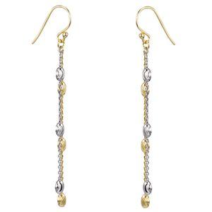 MATERIA Gold Ohrhänger lang bicolor - Damen Ohrringe Hänger Silber 925 vergoldet 67mm lang in Geschenk-Box SO-361
